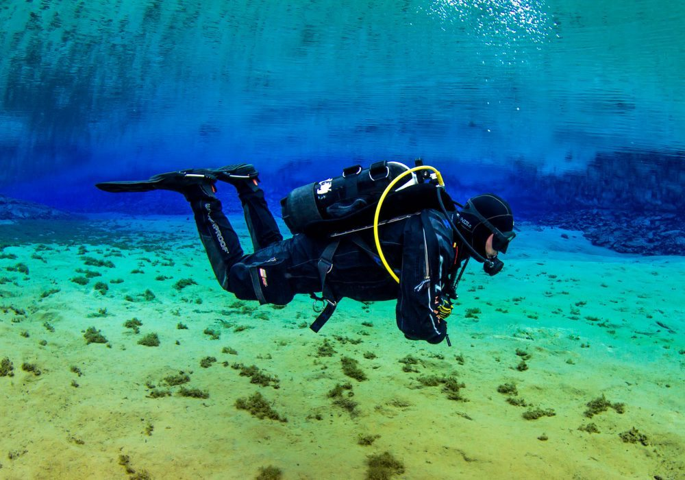 Scuba diving in Silfra Fissure in Iceland