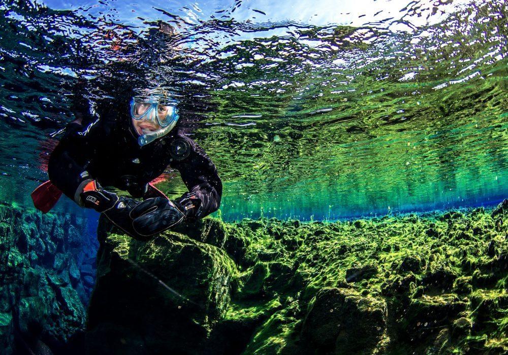 Snorkeler on Silfra snorkel tour in Iceland