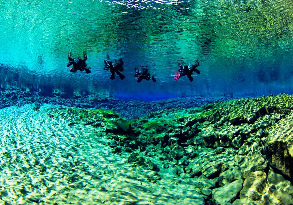 4 snorkelers on Silfra fissure snorkeling tour in Iceland