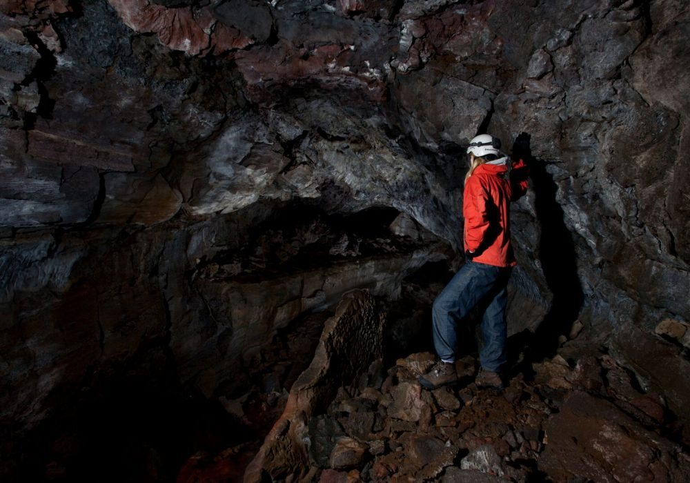 Lava tube caving tour in Iceland