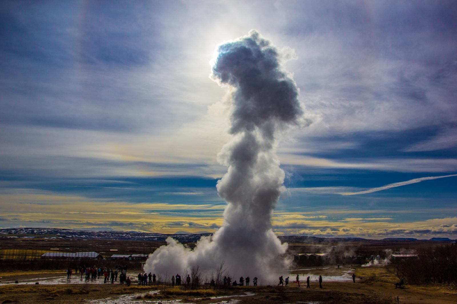 Geysir erupting in Iceland on Golden Circle tour