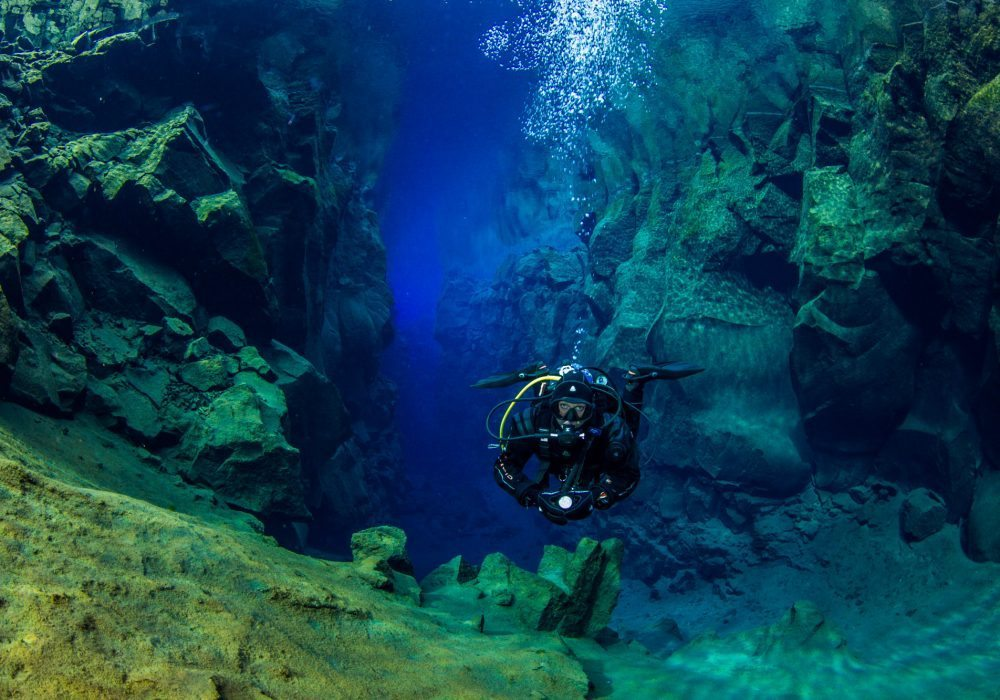 Diver on a scuba diving tour in Iceland, Silfra Fissure