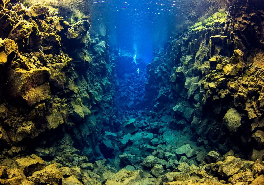 Amazing visibility on diving tour in Silfra Fissure in Iceland