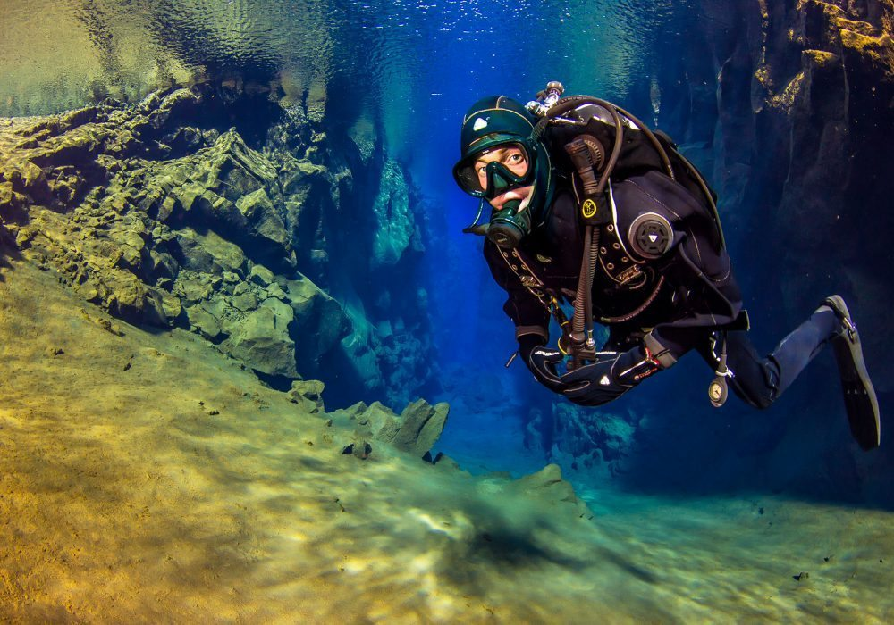 Diver enjoying Silfra Fissure diving tour in Iceland